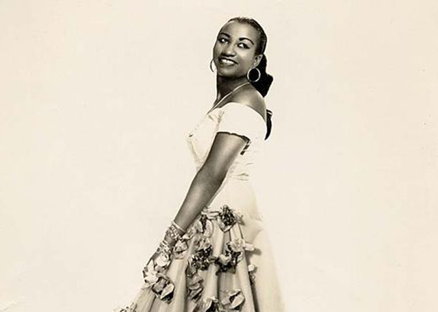 Celia Cruz in Cuba, ca. 1950's. (Photo by Narcy Studios, Cuba, courtesy of Omer Pardillo-Cid.)