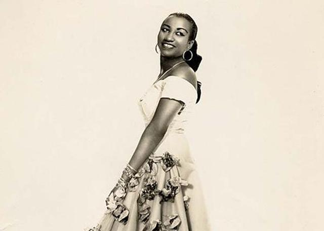 Celia Cruz in Cuba, ca. 1950's. (Photo by Narcy Studios, Cuba, courtesy of Omer Pardillo-Cid.)